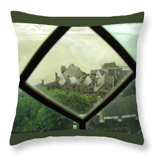 Le Mont St-michel Throw Pillow featuring the photograph Through A Window To The Past by Mary Ellen Mueller Legault