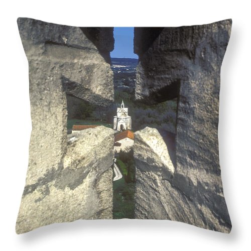 Montmajor France Cross Crosses Monastery Monasteries Throw Pillow featuring the photograph Through The Cross by Bob Phillips
