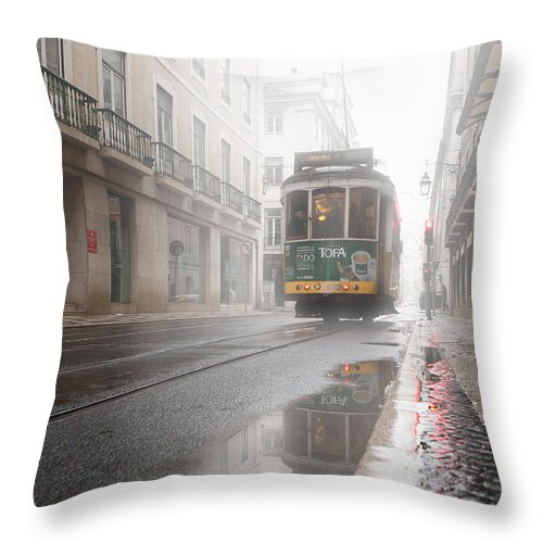 Lisbon Throw Pillow featuring the photograph Through The Fog by Jorge Maia