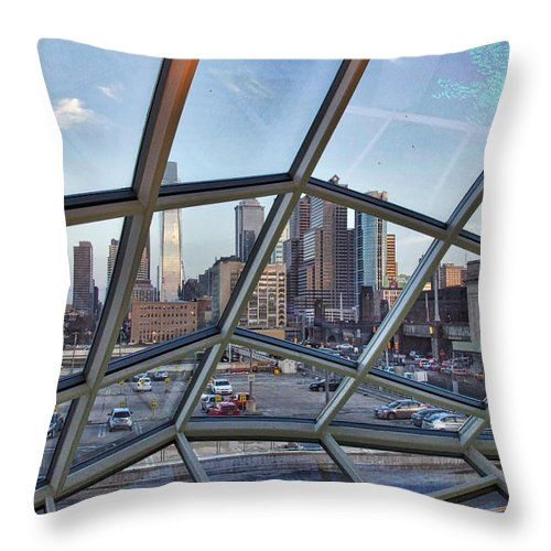 Philadelphia Throw Pillow featuring the photograph Through The Glass At Philly by Alice Gipson