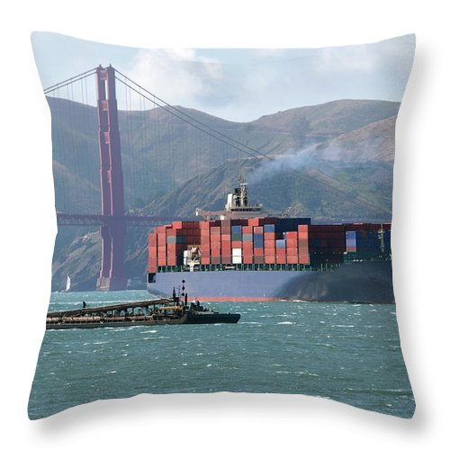Container Ship Throw Pillow featuring the photograph Through The Golden Gate by Jo Ann Snover
