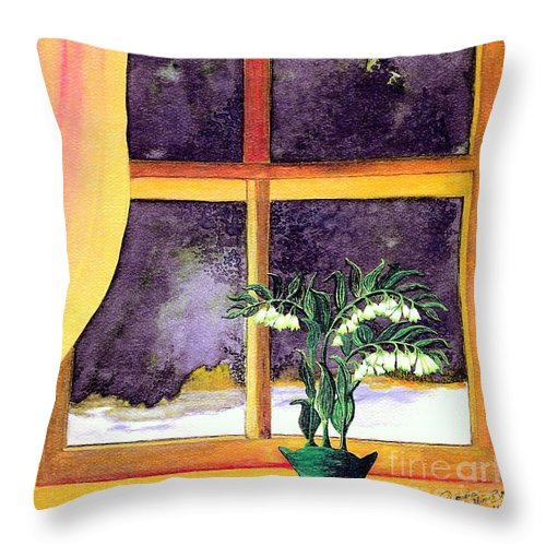 Fine Art Throw Pillow featuring the painting Through the Window by Patricia Griffin Brett
