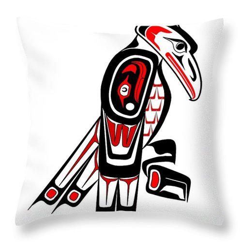 Haida Point Art Throw Pillow featuring the drawing Thunderbird Totem by Fred Croydon