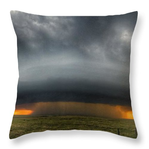 Problems Throw Pillow featuring the photograph Thunderstorm Over Grassy Field by Brian Harrison / Eyeem
