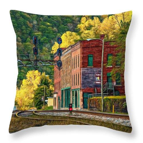 Thurmond Throw Pillow featuring the photograph Thurmond Wv - Paint by Steve Harrington