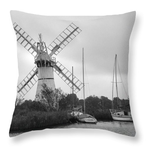 Thurne Windpump Ii Throw Pillow featuring the photograph Thurne Windmill II by Phyllis Taylor