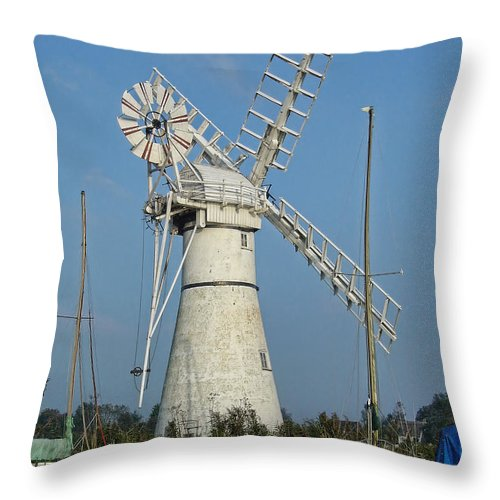 Thurne Windpump Throw Pillow featuring the photograph Thurne Windpump by Phyllis Taylor