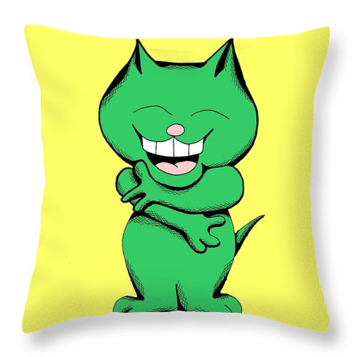 Cartoon Throw Pillow featuring the photograph Tickle Cat Laughing by Pet Serrano