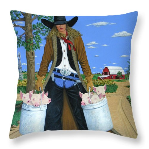 Little Piglets Throw Pillow featuring the painting Tickled Pink by Lance Headlee