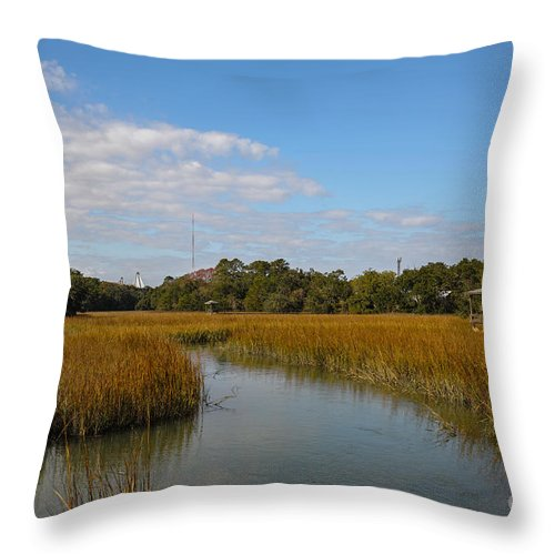 Shem Creek Throw Pillow featuring the photograph Tidal Creek Ebb And Flow by Dale Powell