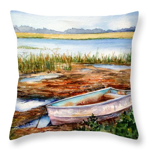 Watercolor Throw Pillow featuring the painting Tides Out by Michael Pearson