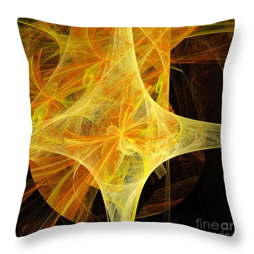 Andee Design Abstract Throw Pillow featuring the digital art Tie A Yellow Ribbon by Andee Design
