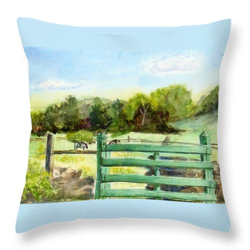 Watercolor Throw Pillow featuring the painting Tiffany Farms East Gate by Katherine Berlin