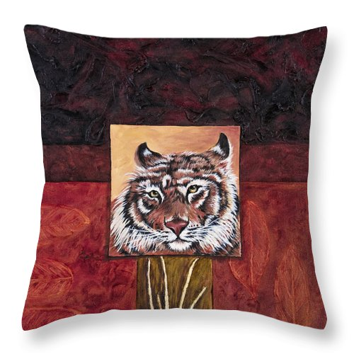 Animal Throw Pillow featuring the painting Tiger 2 by Darice Machel McGuire