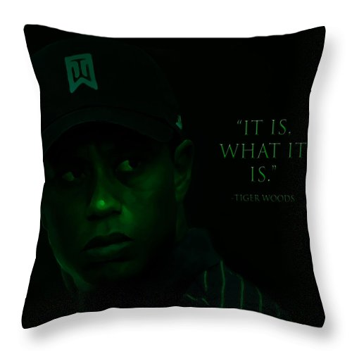 Tiger Woods Throw Pillow featuring the digital art Tiger by Brian Reaves