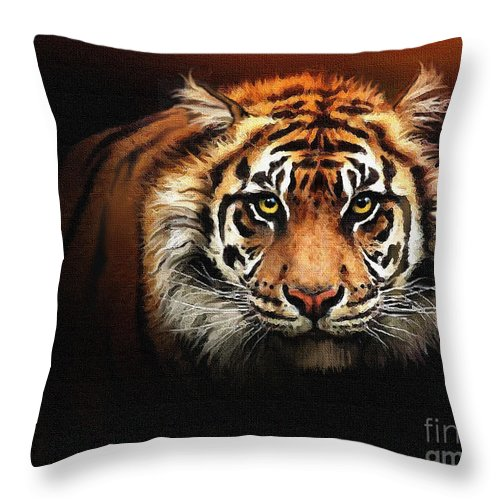 Tiger Throw Pillow featuring the painting Tiger Bright by Robert Foster