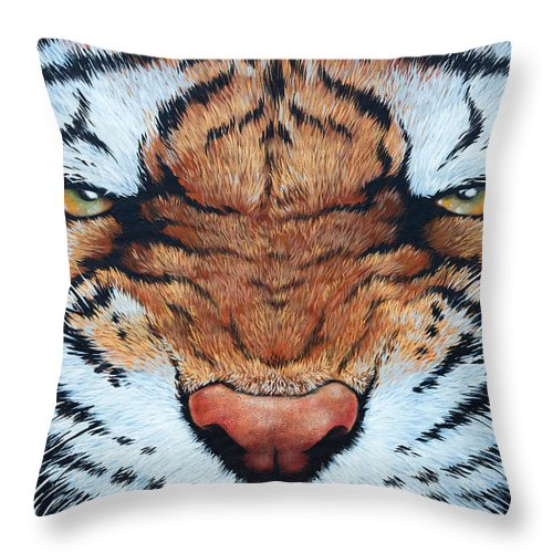 Cat Throw Pillow featuring the painting Tiger Eyes by Glenn Pollard