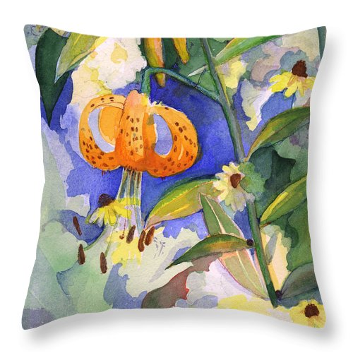 Tiger Lily Throw Pillow featuring the painting Tiger Lily In Dappled Light by Nancy Watson