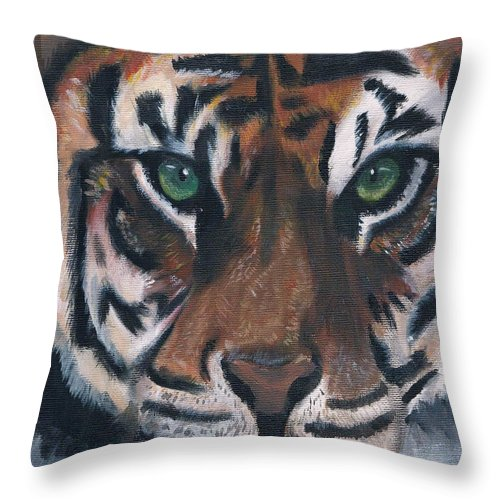 Tiger Throw Pillow featuring the painting Tiger by Luke Harrington