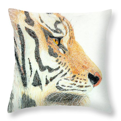 Tiger Throw Pillow featuring the drawing Tiger's Head by Stephanie Grant