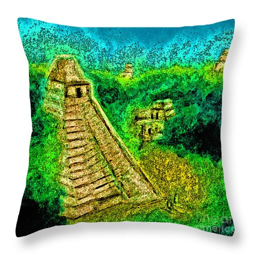 Jrr Throw Pillow featuring the drawing Tikal By Jrr by First Star Art