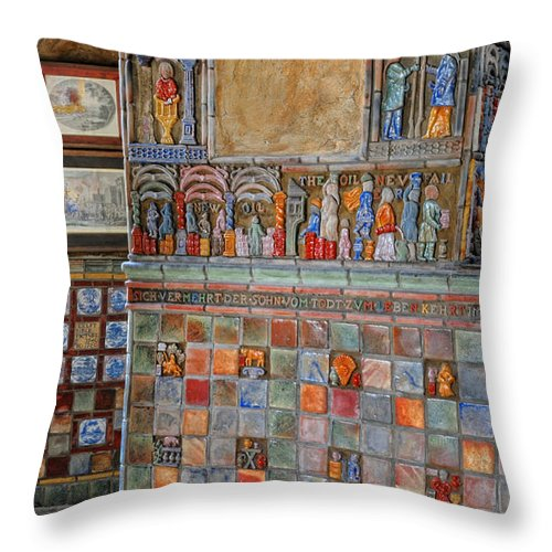 Castle Throw Pillow featuring the photograph Tilework At The Castle by Dave Mills