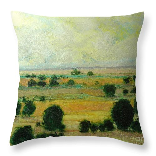 Landscape Throw Pillow featuring the painting Till The Clouds Rolls By by Allan P Friedlander