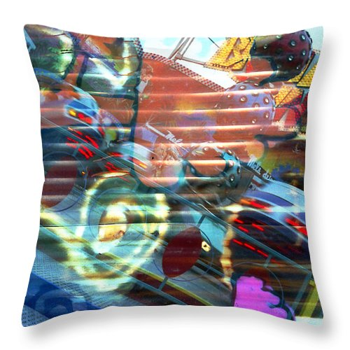 Amusement Parks Throw Pillow featuring the photograph Tilt A Whirl by Rosie McCobb