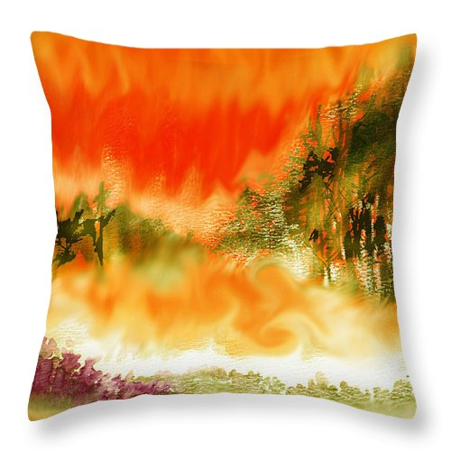 Timber Blaze Throw Pillow featuring the mixed media Timber Blaze by Seth Weaver