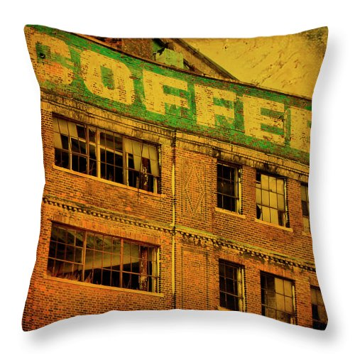 Urban Throw Pillow featuring the photograph Time For Coffee by Gothicrow Images