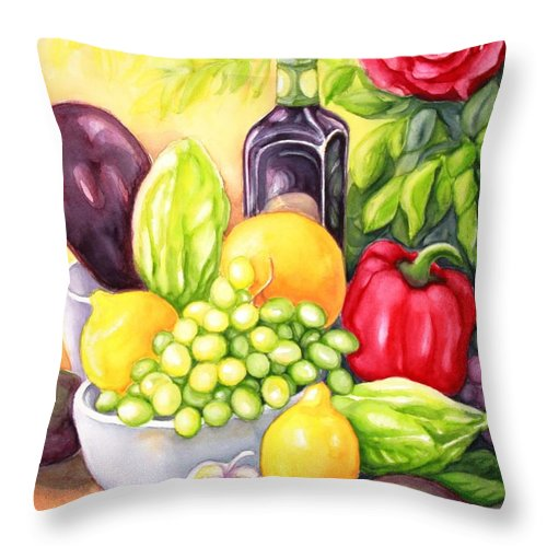 Still Life Painting Throw Pillow featuring the painting Time For Fruits And Vegetables by Inese Poga