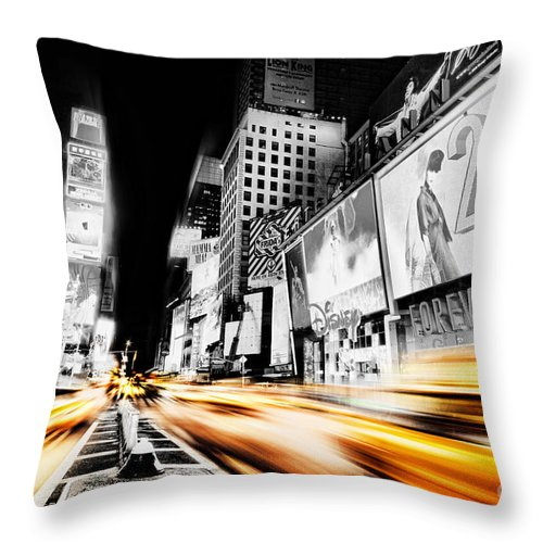 Times Throw Pillow featuring the photograph Time Lapse Square by Andrew Paranavitana