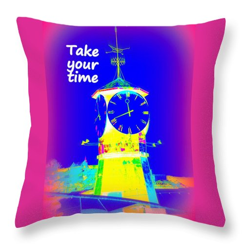 Clock Throw Pillow featuring the photograph It's The Time Of Our Life by Hilde Widerberg