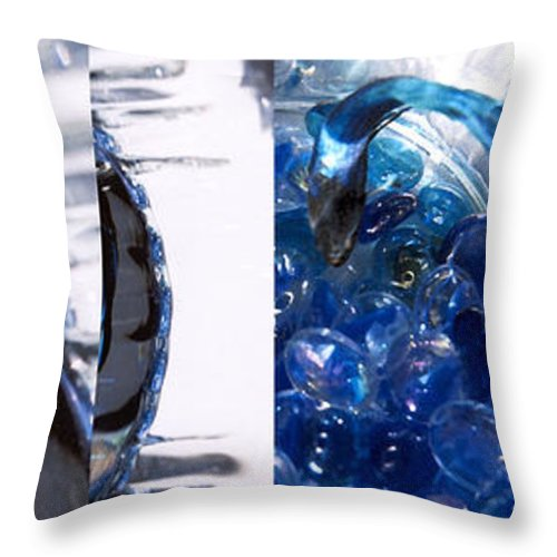 Abstract Throw Pillow featuring the photograph Time Line in Blue by Steve Karol