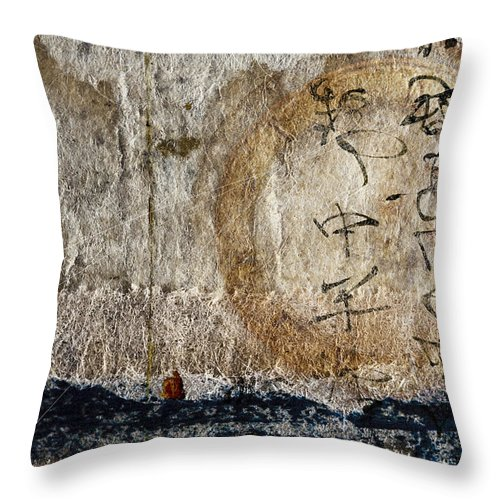 Photomontage Throw Pillow featuring the photograph Time Overseas by Carol Leigh