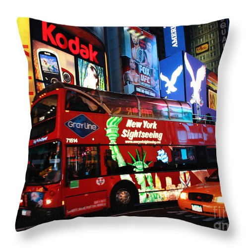 Time Square Throw Pillow featuring the photograph Time Square by Steven Baier