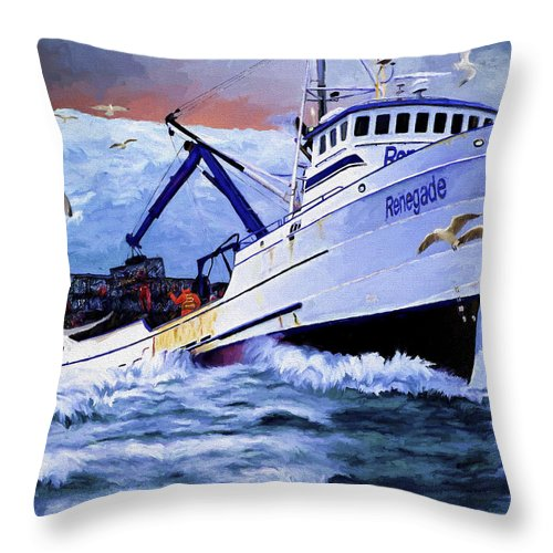 Alaskan King Crabber Throw Pillow featuring the painting Time To Go Home by David Wagner