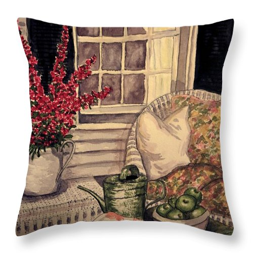 Verandah Throw Pillow featuring the painting Time To Relax - Within Border by Leanne Seymour