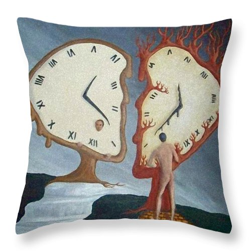 Time Throw Pillow featuring the painting Time Travel by Steve Hester