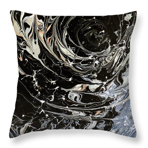 Abstract Throw Pillow featuring the painting Time Warp 2 by Shane Weiss