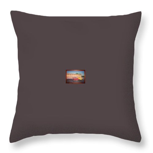 Rick Huotari Throw Pillow featuring the painting Times Past Diner by Rick Huotari