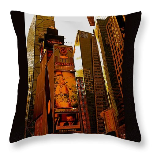 Manhattan Posters And Prints Throw Pillow featuring the photograph Times Square In Manhattan by Monique's Fine Art