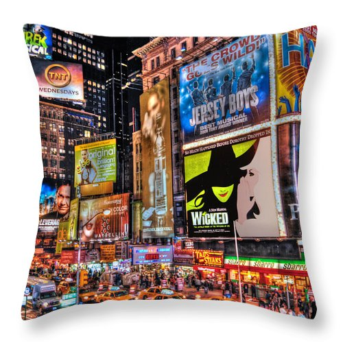 Manhattan Throw Pillow featuring the photograph Times Square by Randy Aveille