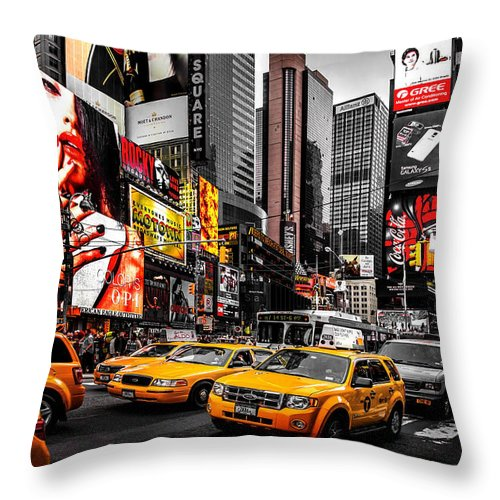 Times Square Throw Pillow featuring the photograph Times Square Taxis by Az Jackson