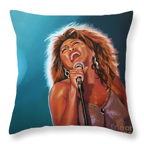Tina Turner Throw Pillow featuring the painting Tina Turner 3 by Paul Meijering
