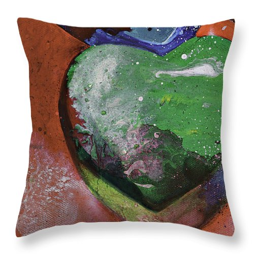 Kasha Ritter Throw Pillow featuring the painting Tina's Heart by Kasha Ritter