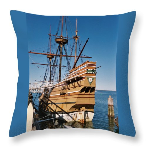 Tiny Throw Pillow featuring the photograph Tiny Mayflower At Plymouth Rock by Susan Wyman