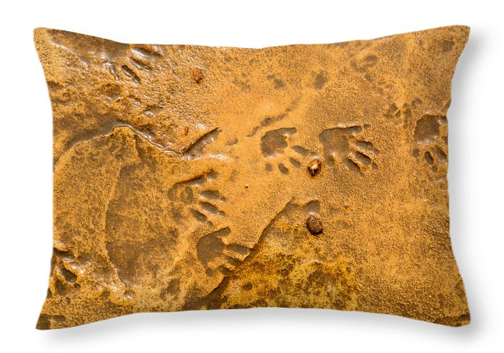 Foot Prints Throw Pillow featuring the photograph Tiny Patter Of Feet by Mair Hunt