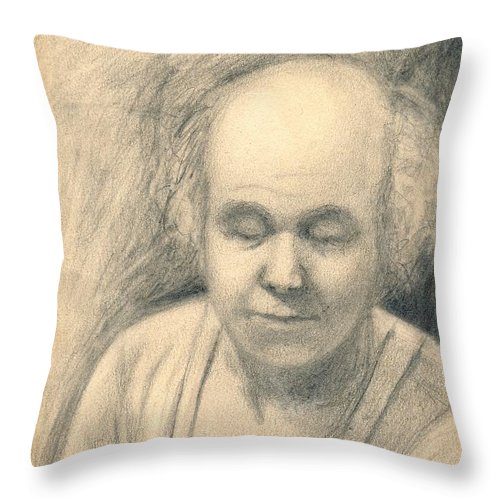 Man Throw Pillow featuring the drawing Tired by Kendall Kessler