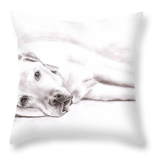 Dog Throw Pillow featuring the drawing Tired Labrador by Nicole Zeug